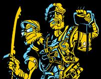 2 Headed Hero illustration and logo