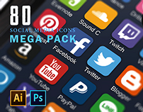 80 Social Media Icons Mega Pack - Download
