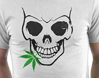 Skull with Weed - Cool Skull with Pot - T Shirt Sticker