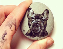 drawing on stone.Sweet dog