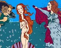"Caricature/Reinterpretation of ""Birth of Venus"""