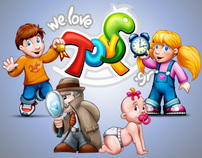 We love TOYS logo and illustrations
