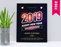 New Year 2019 party Flyer Free PSD