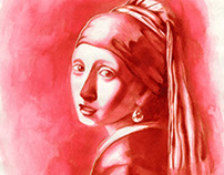 Girl with a Pearl Earring in Cherry Kool Aid