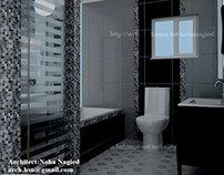 black &white bath room