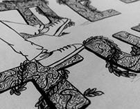 Hand Lettering (pen work with random alphabets)