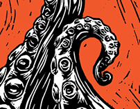 """Monsters of the Deep"" linoleum block print posters"