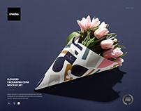 Flowers Packaging Cone Mockup Set