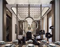 从中国丝绸和传统山水文化中汲取吉光片羽,打造出一个富有层次和美感的空间,让每个空间有其独特的灵魂。