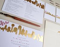 Skyline Lovers Gold Wedding Invitation
