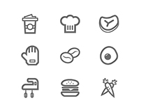49 Food and Beverage line symbol icons