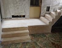 Treppe aus Römischen Travertin