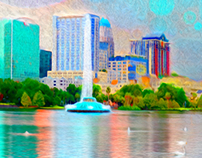 Lake Eola Abstract City Scape
