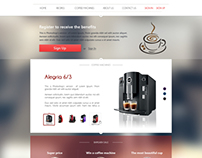 landing page for a firm that sells coffee makers coffee