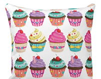 Cupcake Pattern Pillow
