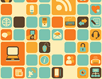 Seamless pattern with social, media, web icons