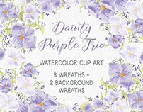 Dainty set of watercolor wreath in purple shades