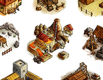 Game art: isometric buildings