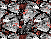 Graphic patterns different birds