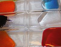 Floating colors on transparent palette