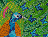 Peacock and Butterflies