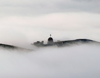 Stone hill in fog