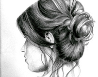 messy hair bun sketch