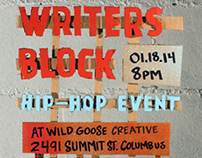 Writers Block No. 01 Event Flyer.