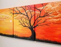 Tree Silhouette Triptych