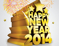 Happy New Year 2014 3D-Text (3rd C4D Project).
