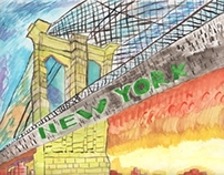 Water Color of Brooklyn Bridge