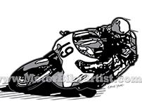 RACER 19 vintage motorcycle vector artwork
