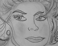 Retro woman sketch
