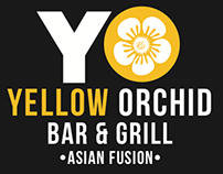 Yellow Orchid (YO) Bar & Grill Logo Mock-Ups
