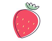 Flat fruit illustration