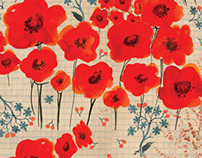 Farm . poppy flowers print