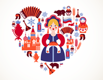 Russia heart + map with icons
