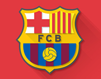 Fc Barcelona Logo   Flat Design