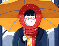 YELLOW UMBRELLA, RED SCARF
