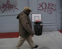 Baskbetball net on street bin