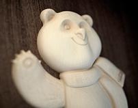 Символ СОЧИ 2014, белый мишка 3D
