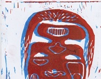 Linoprint faces