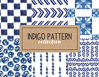 Indigo Hand Drawn Seamless Pattern