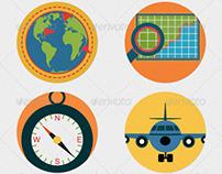 Mobile GPS Navigation Icons Flat Illustrations