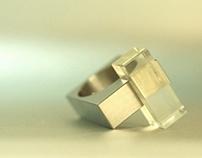 Big Citrine Titanium Ring