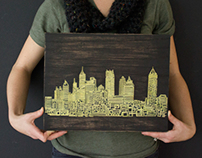 Atlanta One Line engraving