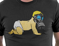 A Bright Future: Baby with Gas Mask T Shirt - Poster