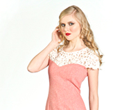 Pink Magee Wool and Lace Sweetheart Dress