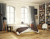 Bedroom with library