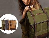 Womens top roll hunter canvas backpack